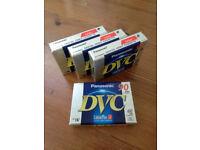 4 x Panasonic AY-DVM60FE Mini DV Tapes, 60 min, Camcorder, New & Sealed