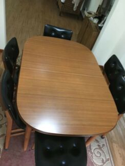 Retro Parker extension dining table+6 leather upholstered chairs