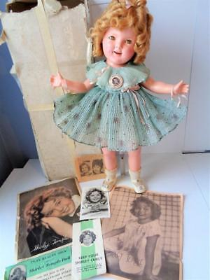 """1935 Ideal Shirley Temple 20"""" Doll in Rare Green Curly Top Dress Box Photos"""
