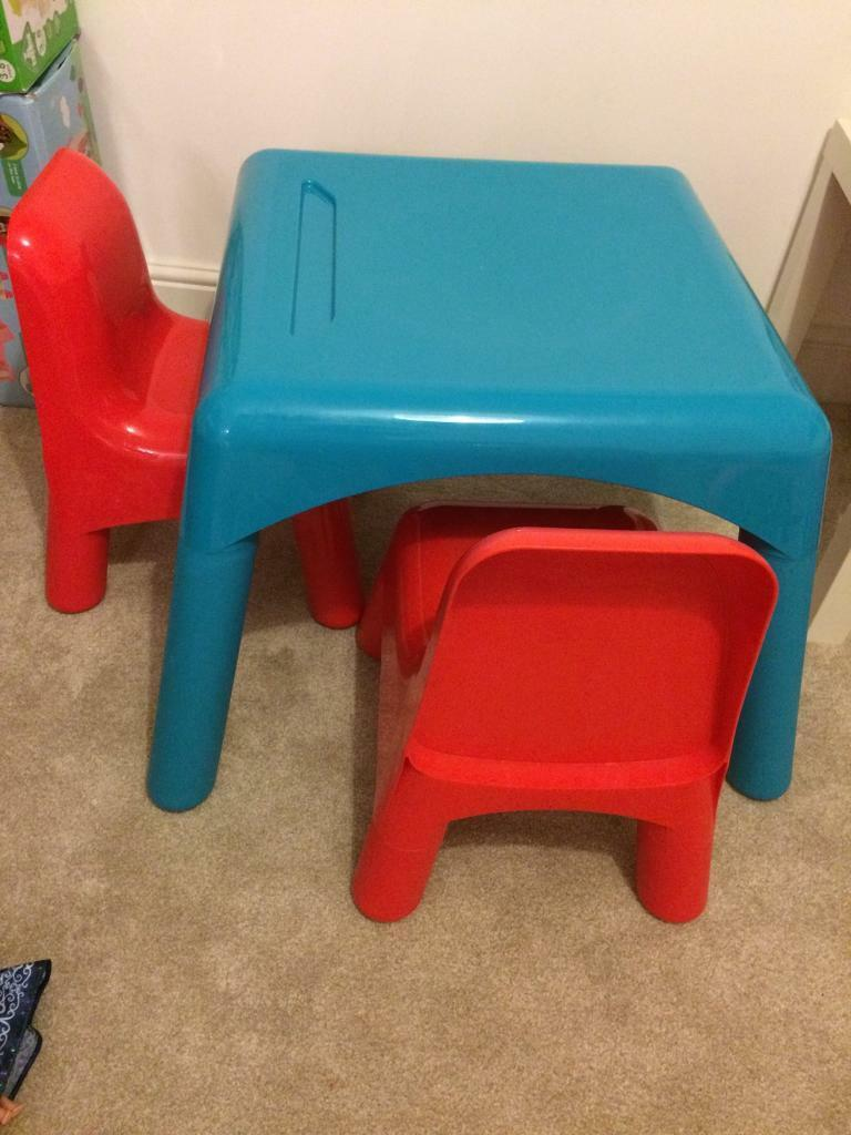 ELC Blue Table and 2 Red Chairs   in Poringland, Norfolk   Gumtree
