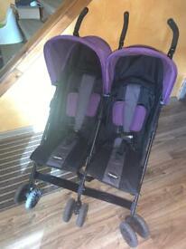 Obaby Apollo double stroller purple.