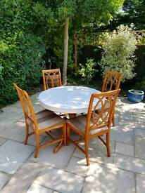 Grey painted table & 4 custom chairs