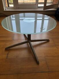 Round frosted glass coffee table