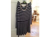 John Lewis long sleeved navy & cream striped dress perfect for spring / autumn