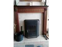 wooden fire surround marble back&hearth inset log/solid fuel burner make an offer buyer collect
