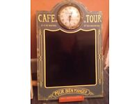 CAFE LA TOUR- CLOCK CHALKBOARD DISPLAY. OPEN TO OFFERS