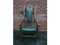Old Charm Furniture - Armchair - Hide Green/ Leather and light oak - Wood Brothers
