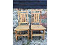 Set of 4 solid wood farmhouse chairs