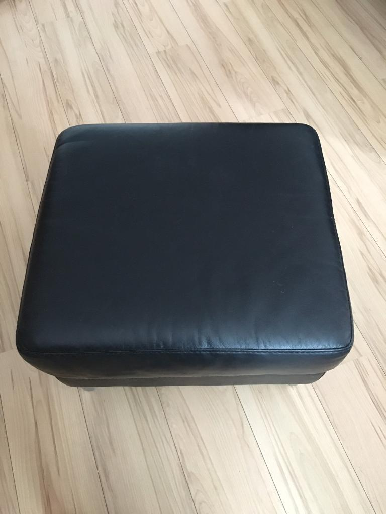 Black Leather Dfs 3 Seater Sofa Chair And Foot Stool