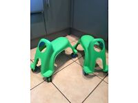 Pair of green ride on scooters indoor or outdoor ride on toys