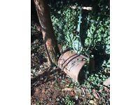 Garden roller. Cast iron ornate Victorian lawn roller. Maker: J H King, Rochdale