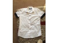 Topman small white short sleeved shirt with navy n white dots on the sleeves