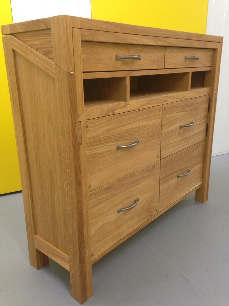 Laura Ashley Solid Oak Milton Bureau Desk Sideboard Dresser Chest Of Drawers Furniture Lombok Raft
