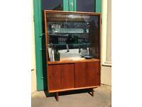 Herbert E. Gibbs 1960s Glazed Teak Display Cabinet with Sliding Doors