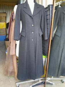 Oakville XS TALL 3/4 Full Length Black Wool Coat Custom-made Thick Wool Warm Classic Women Girl Womans thin skinny Long