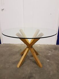 THE CHAIR COMPANY TEMPERED GLASS TOP TABLE ON WOODEN LEGS DELIVERY AVAILABLE