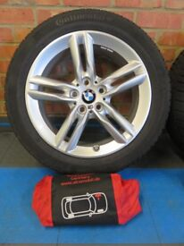 "GENUINE BMW 17"" M Sport Double Spoke 483M Winter Wheels & tyres for F45/F46, covers and wall rack."