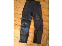 Black Leather Rhino Motorbike Trousers