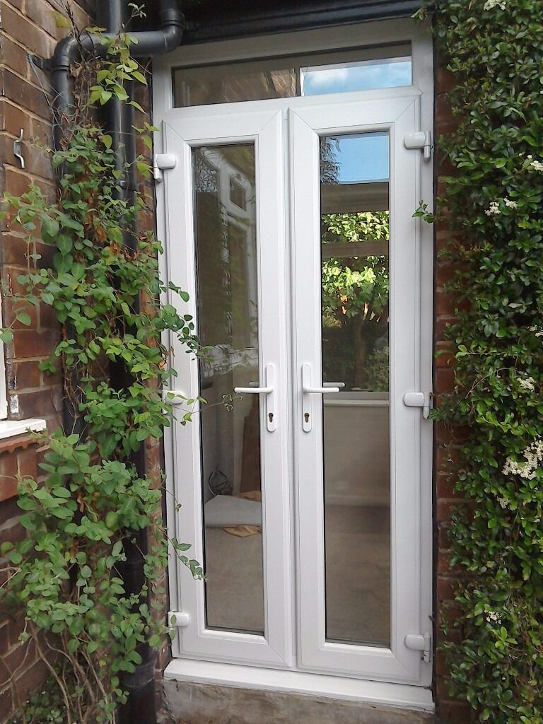 White upvc external narrow french doors double glazed for Double glazed patio doors sale