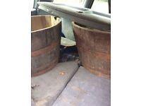 Pair of half barrels solid oak