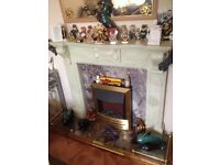 Genuine marble fireplace & base & Fire.