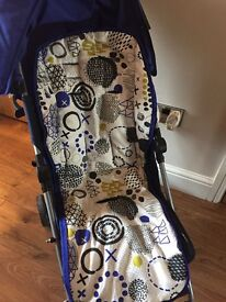 Mamas and papas pushchair with foot muff.