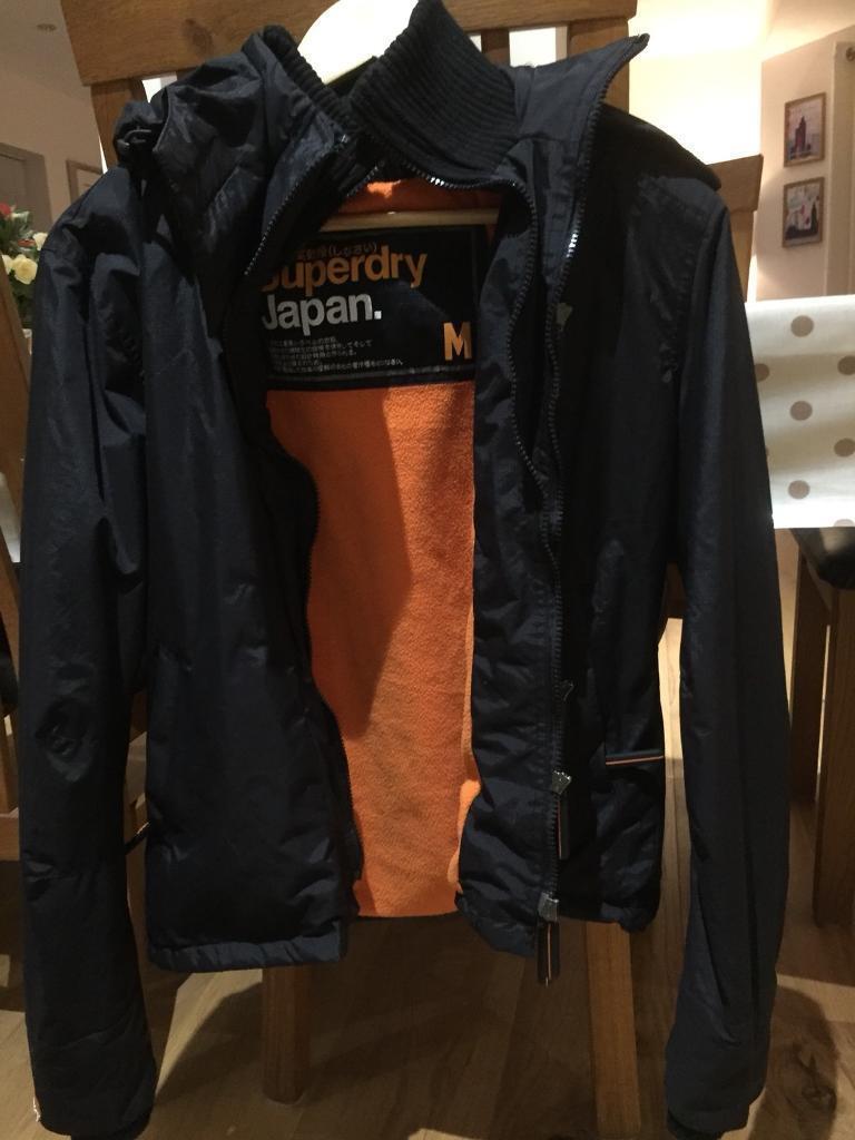 Super dry black jacket with orange lining