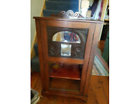Vintage wooden hall cupboard with small shelves