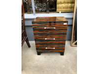 Small Chest of Drawers/ Bedside Chest , good quality and condition . Glass front and top......