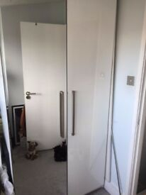 White high gloss double wardrobe with mirror