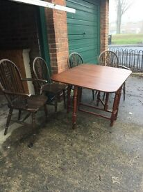 Vintage table and four chairs...
