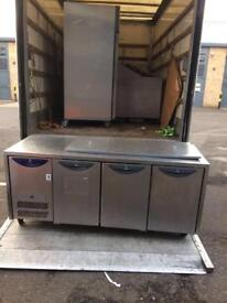 Pizza topping fridge with 3 door and work top table