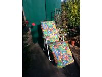 Folding garden chair with padded seat cover