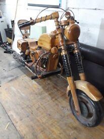 large model wooden motorbike