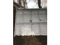 Side hinged garage door white