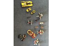 6 Star Wars lego models and 1 large lego car , 2 small lego cars