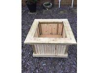 Large wood garden planter