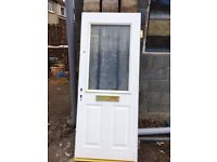Door with Obscure Double Glazed Unit with Hinges. Steel Coated Door Ideal for Garage or Hut