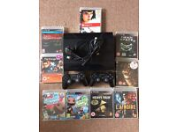 Super Slim PS3 - 12GB + 250GB HDD - 2 Controllers - 9 Games - Cables