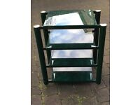 Green glass and metal storage shelving stereo table unit