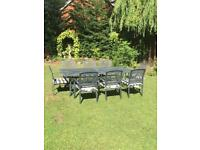 Patio/garden table and chairs, 8 seater large