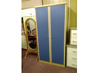 Pine Wood and Blue Coloured full sized 2 door Wardrobe