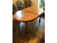 Oak Coloured Dining/Banquet Table plus Six Chairs