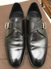 Ralph Lauren Dunlay Monk Strap Black Leather Slip-Ons Beautiful Condition UK10