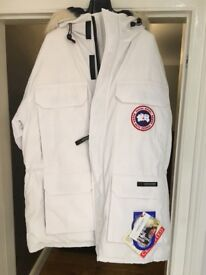 100% Authentic Mens Canada Goose Expedition Parka BNWT White Size L