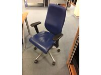 blue leather office chairs
