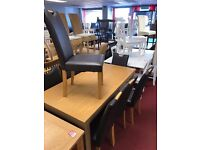 Extendable Table and 8 Leather Chairs with handles