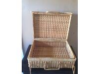 Vintage wicker suitcase Wedding/deco/diy