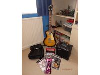 Electric Guitar, Amplifier and Instruction Books + CD's