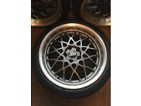 Genuine BBS deep dishes 225/40 R18 , front 18x8,5, rear 18x9,5. Front tyres new